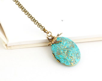 Bird Locket Necklace - Brass Locket Necklace - Verdigris Photo Locket - Romantic Gift - Woodland Jewelry - Rustic Locket Pendant