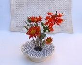 Petite Tatted Doily Ceramic Flower Vase . Handmade Pottery . Doily Lace Ikebana Vase. blue on white