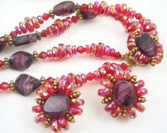 Vintage Glass bead Crystal Necklace Set