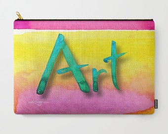 "Abstract Art, Pouch, pink, yellow, teal, orange Purse, Bag, Abstract Painting art ""Art"" by Kathy Morton Stanion  EBSQ"