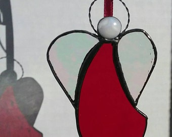 Red Stained Glass Angel Ornament, Angel Suncatcher