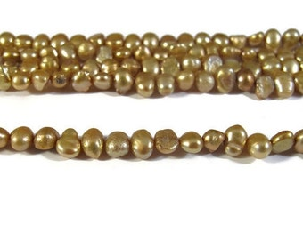 Labor Day SALE - Freshwater Pearls, Delicate Golden Yellow Nugget Pearl Beads, 3.5-4mm, 15 Inch Strand, Long Drilled, Over 46 Loose Pearls (