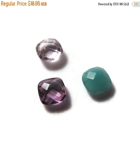 Labor Day SALE - Three NON DRILLED Gemstones, Emerald, Amethyst and Pink Amethyst Stones for Making Jewelry & Setting, 6x4mm Gemstone (Luxe-