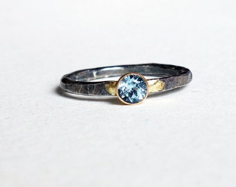 Two Toned Aquamarine Handmade Ring - Sterling Silver and 14k Gold