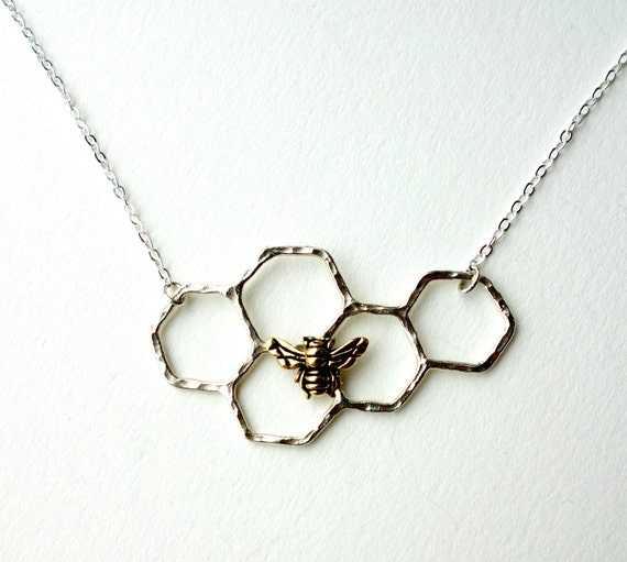 SALE Sterling Silver Honeycomb Necklace with Bee Perched