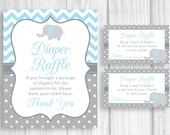 Printable 8x10 Elephant Boy's Baby Shower Diaper Raffle Sign and Sheet of 3x5 Raffle Tickets - Blue Chevron and Gray & White Polka Dots