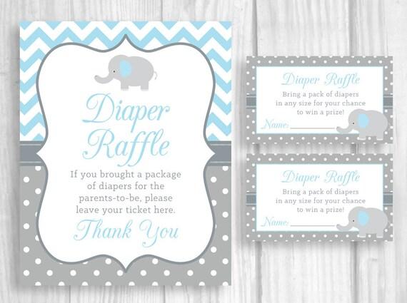 printable 8x10 elephant boy u0026 39 s baby shower diaper raffle