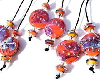 1 Pair *Firecracker Spree Lentils & 4 Matching Beads*  Handmade Lampwork Beads Beadfairy Lampwork SRA