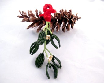 French beaded artificial mistletoe kissing sprig