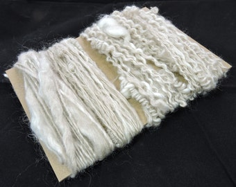 Trim Embellishment Saori Weaving Freeform knit Handspun Art Yarn Knots Supercoils Coils Thick Thin Natural Colored Kid Mohair Merino T1
