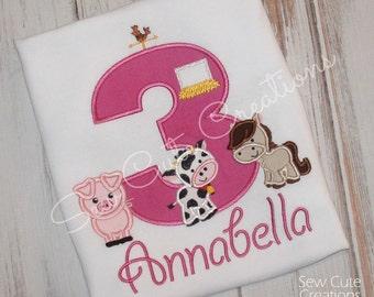 Farm Birthday Shirt, Barn Birthday shirt, Barn Animal Birthday Shirt, Farm Animal birthday shirt, Barn Shirt, Farm shirt, sew cute creations