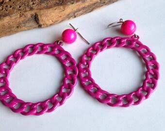 Enamel Hoops, Big Hoops, 80's Hoops, 1980's Hoops, Pink Enamel Earrings, Pink Hoops, Dangle Earrings, Etsy, Etsy Jewelry