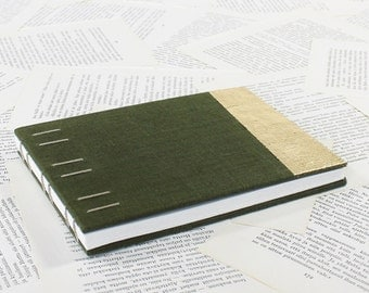 Large Hardcover Journal in Dark Olive Green and Gold