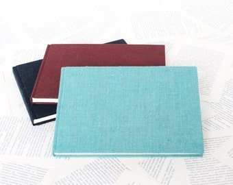 Large Hardcover Sketchbook or Journal in Dark Blue, Ruby Red or Turquoise Linen