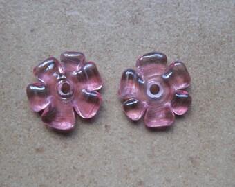 Lampwork Beads - SueBeads - Disc Beads - Fuschia Cut Disc Flower Bead Pair - Handmade Lampwork Beads - SRA M67