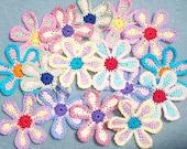 16 handmade cotton thread crochet flowers -- 2478
