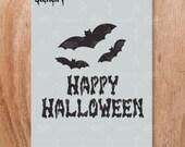 Happy Halloween Stencil- Reusable Craft & DIY Stencils- S1_01_HW_1 -8.5x11- By Stencil1