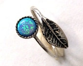Leaf ring, botanical ring, dainty silver ring, blue opal ring, twig ring, adjustable ring, twig ring, boho - Gone with the wind R2062-1