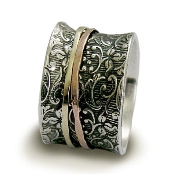 Hippie Wedding band Sterling silver band gold ring spinners