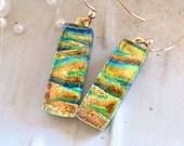 Gold Earrings, Green, Aqua, Dichroic Glass Earrings, Glass Jewelry, Dangle, Gold Filled, A4