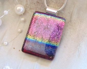 Pink Necklace, Purple, Blue, Dichroic Pendant, Glass Jewelry, Necklace Included, A2, AF