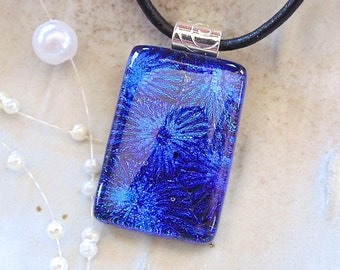 Cobalt Blue Necklace, Dichroic Glass Pendant, Fused Glass Jewelry, Necklace Included, A2