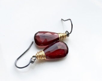 Fall Sale - Save 20% - Faceted Red Garnet Gold and Oxidized Sterling Silver Dangle Mixed Metal Earrings