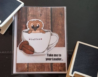 Handmade Card Owl who LOVES coffee card by JLMould - using copic markers and rubber stamps