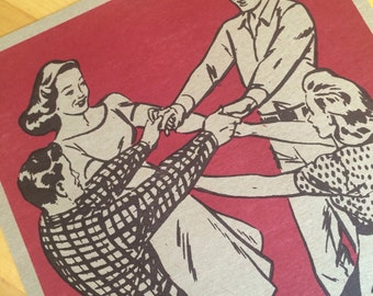SQUARE DANCE Hands Across RED Hand Printed Letterpress Poster