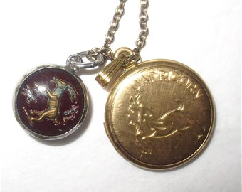 Necklace for Capricorn - Gold  Goat Locket and Capricornus Glass Goat Charm - Vintage 60s Astrology Jewelry
