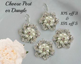 Bridesmaids earrings, Bridesmaids Jewelry, Set of 3, set of 4, Set of 5, silver post earrings, Silver dangle, Crystal Pearl, stud earrings