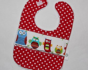 Kooky Owls and Dots Chenille Boutique Bib