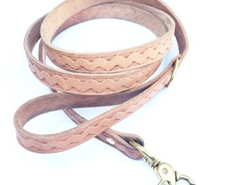 Mountain River Hand Stamped Leather Dog Leash