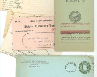New Hampshire Moter Vehicals 1922 lot vintage law book licence registration postal cover NH ephenera scrapbooking crafts