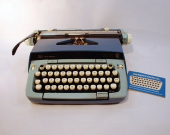 Smith Corona Galaxie Twelve working portable manual typewriter robins egg blue cobalt navy blue carrying case instructions 1960s
