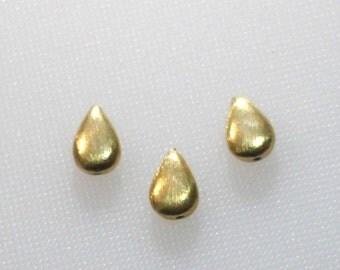 24 karat gold over sterling silver brushed teardrop beads