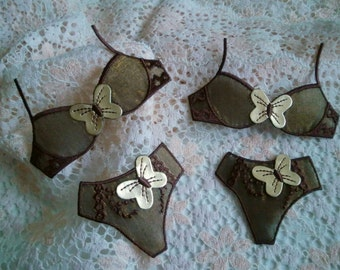 Twin LINGERIE Appliques Brown & Gold BRA set by Merckwaerdigh
