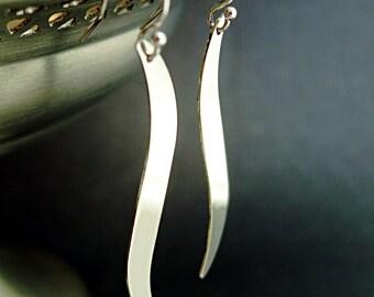 Wave earrings, Sterling Silver, long earring, S curves, Minimal jewelry