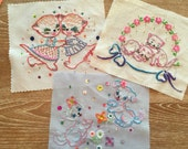 Embroidered Pillow Pieces.. Mostly Finished !!.. Handmade and ooak!!!