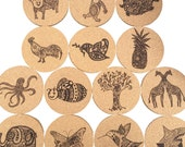 "Cork Coasters 3.5"" with Laser Burned Karmabee Design"
