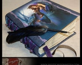 Moonlight Messenger Book of Shadows .. Porcelain Beaded Binding... XL Journal and Quill Pen...Refillable