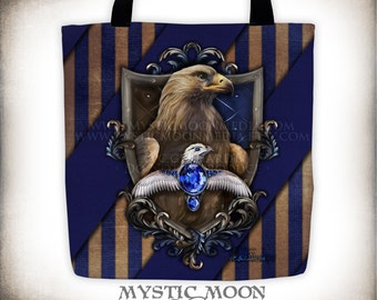 Ravenclaw Tote Bag / Harry Potter / Hogwarts House / Ravenclaw Crest / Ravenclaw Patch / Slytherin / Gryffindor / Hufflepuff / Ravenclaw
