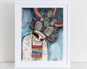 Rainbow Warrior-american Indian kachina art print Watercolor & Archival Print from my original illustration home decor - 8x10-11x14