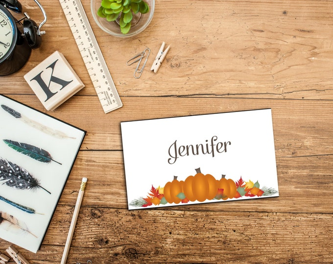PRINTABLE Pumpkin Patch Thanksgiving Dinner Personalizable Place Card Template