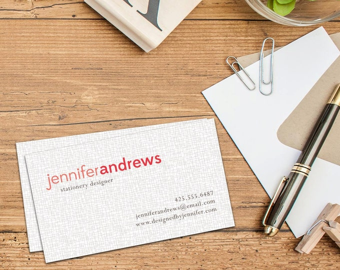 Simple Linen print Calling Cards, Business Cards, Set of 50 Cards, Set of 100 Cards, Elegant Simple Personal Contact Cards, Classic Design