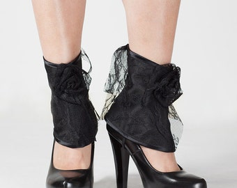Lace & Satin Spats, Shoe Covers, Elegant Goth