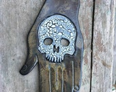 Skull Hand in Black/Grays with Cutout Eyes