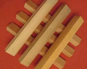 Six Wooden Scrabble Tile Racks