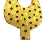 Baby Pacifier Holder Bib Yellow Ladybug  Fabric HANDMADE Add a Name