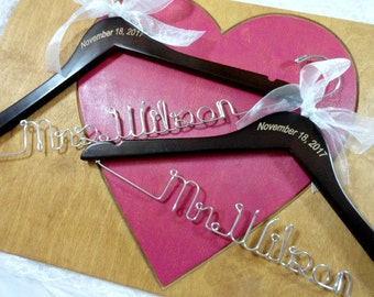 Mr and Mrs Hanger Sets - Wedding Hangers - Engraved Wedding Dress Hangers - Personalized Name Hangers - Couples Gift - Bride and Groom Set